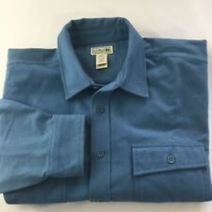 L.L. BEAN Blue Cotton Chamois Flannel Shirt  M